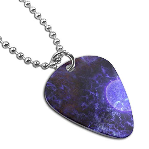 Purple Moon Pendant Necklace Guitar Pick Custom Keychain Pet Card