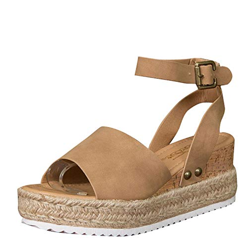DBDK Womens Open Peep Toe Ankle Slender Strap Classic Espadrille Wedge Sandals, Tan, Size 6