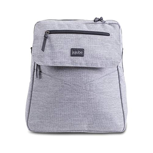 JuJuBe Diaper Bag Backpack + Messenger Bag   Core Convertible   Durable, Stylish, Travel Friendly, Multi Functional, Insulated Bottle Pockets + Changing Pad Included   Glacier Grey