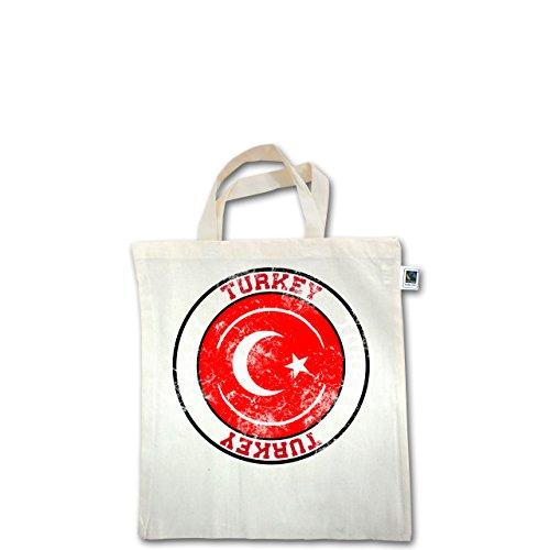 EM 2016 - Frankreich - Turkey Kreis & Fußball Vintage - Unisize - Natural - XT500 - Fairtrade Henkeltasche / Jutebeutel mit kurzen Henkeln aus Bio-Baumwolle