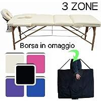 LETTINO MASSAGGIO PROFESSIONALE 3 ZONE,LETTINO ESTETISTA IN LEGNO DIMENSIONE XL 180 X 56 CM - LETTINI PER DA MASSAGGI PORTATILI PIEGHEVOLI (PANNA)