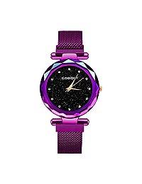 GOGOEY Reloj de Movimiento Análogo, Cuarzo, con Extensible de Metal, Acero Inoxidable (púrpura)