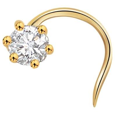 Vinayak Single Gems Cubic Zirconia Gold Nose Stud Body Piercing Jewellery