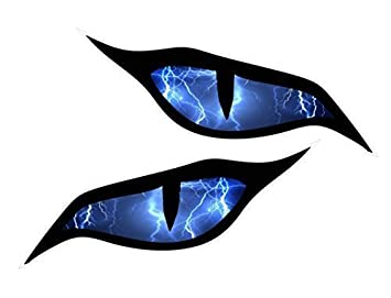 Pair Of Evil Eyes Eye Stickers With Lightning Bolts Horror Motif - Car sticker designripped torn metal design with evil eye monster motif external
