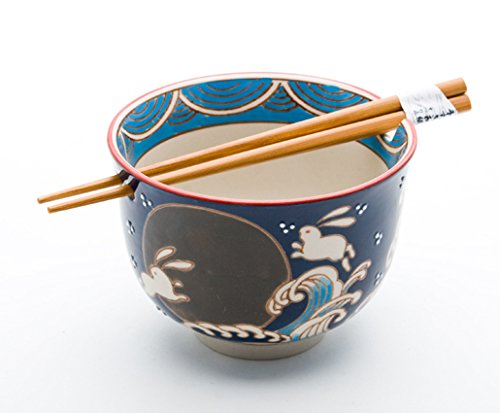 Quality Japanese Ramen Udon Noodle Bowl with Chopsticks Gift Set 5 Inch Diameter (Moon Rabbit)
