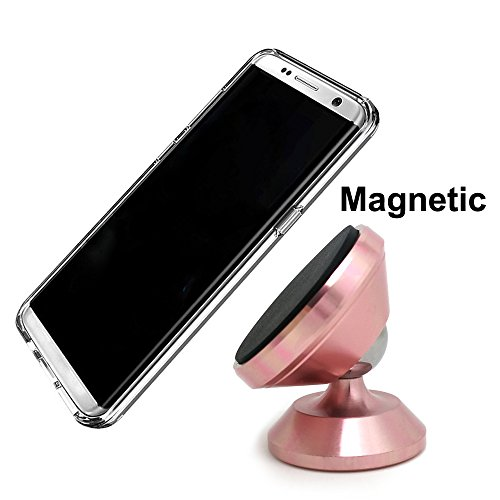Universal Magnetic Car Mount,Dsun Adjustable Dashboard Cellphone Holder for Any Phones or GPS, iPhone 8/7 / 6/5 Galaxy S7 / S6 (Rose - Premium Special Telephone Handset
