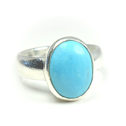 Jewelryonclick 3 Carat Natural Turquoise Sterling Silver Simple Ring For Women Size ()