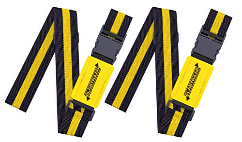 Luggage Straps, Adjustable Non-Slip Baggage Belts- Suitcase Bands For Travel Bag (2 Straps, Yellow Stripe 2pk)