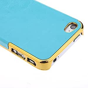 Luxury PU Leather Gold Chrome Frame Case for iPhone 4/4S --- COLOR:Blue