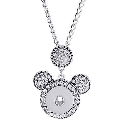 (Lovmoment Necklace Cute Mouse Head Fit 18MM Snap Button Charms)