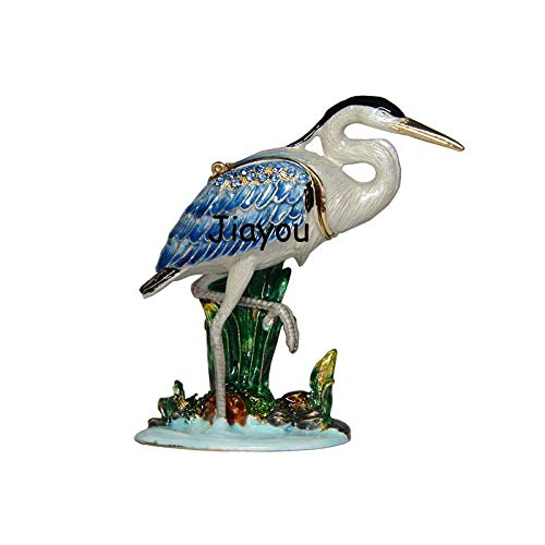 Kiartten Trinket Box - Vintage Decoration Heron Bird Faberge Crystal Trinket Box Decorative Enamel Jewelry Gift Box Bird Figurine X'Mas Gifts 1 Pcs - Metal Bird Figurine