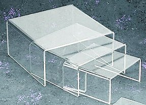 Medium Low Profile Riser 3pcs Set in Clear Acrylic by Tripar (Tabletop Stand Display)