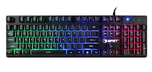 NPET K10 Wired Backlit Floating Gaming Keyboard, Mechanical Feeling Rainbow Illuminated Gaming Keyboard for PC, Laptop, Computer