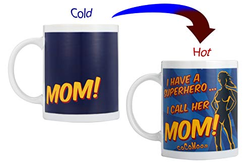 New MOM Coffee Mug 11oz- Funny Ceramic Magic Heat Color Changing/Magic Coffee & Tea Cool Heat Changing Sensitive Cup 11 oz,Drinkware Ceramic Mugs Morning Birthday Christ (MOM)