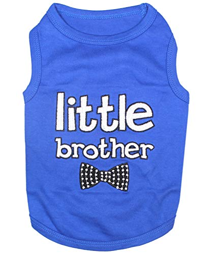 Parisian Pet Dog Cat Clothes Tee Shirts Mommy's Boy, Daddy's Girl, Big Brother, Big Sister, Little Brother, Little Sister, I Love Mommy, I Love Daddy (Little Brother, M)