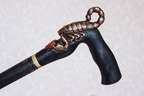 Scorpion Walking stick Hand carved cane Zodiac Scorpio gift Black Hiking stick