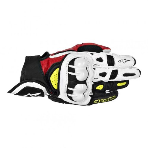 Alpinestars GPX Men's Leather Street Bike Motorcycle Gloves - Black/Red/Yellow / Large (Gpx Alpinestars Leather)