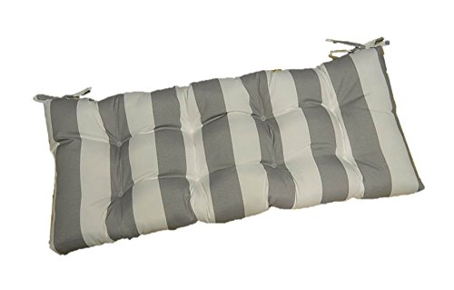 Gray / Grey and White Stripe Tufted Cushion for Bench, Swing, or Glider - Choose / Select Size (36