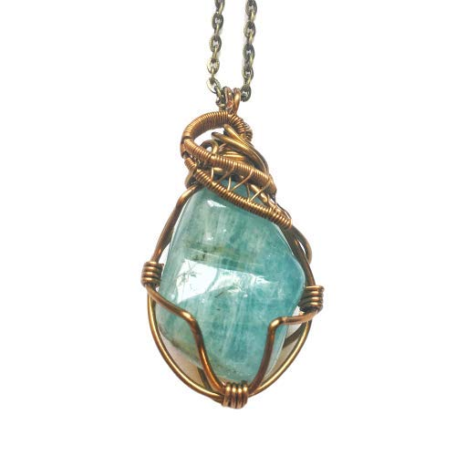 Handmade Aquamarine Crystal Necklace - Antique Bronze Wire Wrapped Pendant - March Birthstone Jewelry Gift for Him and ()