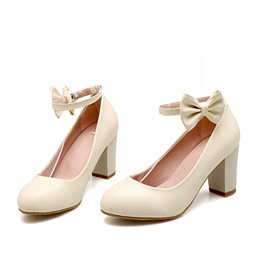 Carolbar Sweet Womens Buckle Bows Lolita Ankle Strap Chunky High Heel Dress Pumps Mary Janes Shoes Beige cynhn7