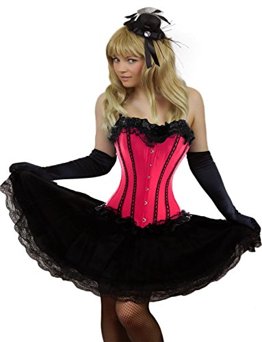 [Yummy Bee Womens Burlesque Corset + Long Black Lace Skirt Costume Size 16 - 18 Pink] (Pink Moulin Rouge Costumes)