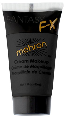 Mehron Makeup Fantasy F/X Water Based Face & Body Paint, BLACK – 1oz Carded - Cream Makeup Halloween