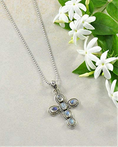 SIVALYA Designer 925 Sterling Silver Cross Pendant Necklace With Gemstone, Exquisite hand-crafted design in Solid Silver, Makes a Great Gift for Her ()