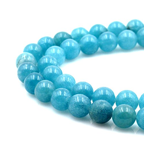 BRCbeads Gorgeous Natural Aquamarine Sponge Qurartz Gemstone Round Loose Beads 10mm Approxi 15.5 inch 35pcs 1 Strand per Bag for Jewelry Making (Aquamarine Round Beads)