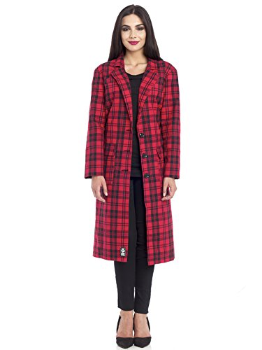 Seek & Destroy Red Checkered Oversized Trenchcoat Frauen Mantel rot