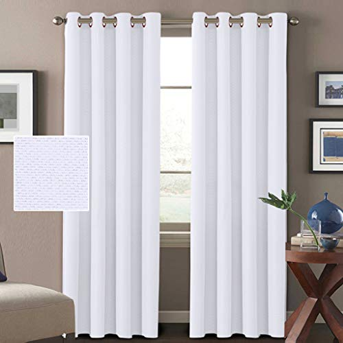 (H.VERSAILTEX White Linen Curtains 84 Room Darkening Linen Look Curtains Thermal Insulated Heavy Weight Textured Rich Linen Curtains for Living Room, 52 by 84 Inch - Pure White (2 Panels) )
