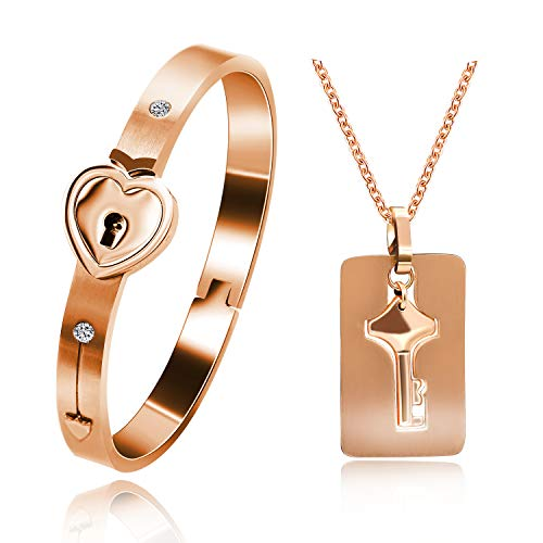 Uloveido Matching Bracelet with Necklace for Girlfriend Boyfriend, Rose Gold Plated Titanium Puzzle Couple Heart Bracelet and Key Pendant Necklace for Men and Women SN300 (Rose Gold ()