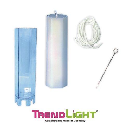 TrendLight ® 860504 - Stampo per candela, esagonale, include stoppino da 1 m, supporto per stoppino e guida, 53 x 170 mm