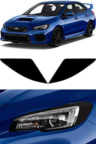 Headlight Tint compatible with 2015-2019 Subaru WRX/STI | Glossy Black Smoke Vinyl Reflector Amber Delete Overlay Kit