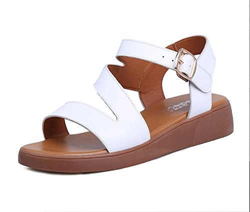 Xing Lin Sandalias De Mujer Verano Sandalias Planas Nuevas Mujeres Zapato Abierto Zapatos De Cuero Con Comodidad Cómoda Calzado Casual E617-18 white