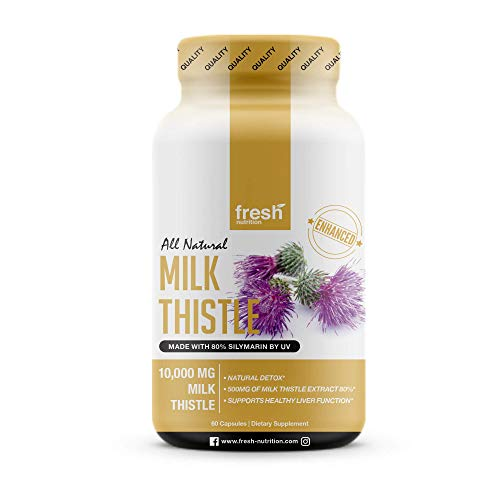 Milk Thistle Capsules - Strongest Available 10,000mg 80% Silymarin - Organic Liver Cleanse & Detox Support Supplement - Extract Powder in Capsule Pill Form - Made in The USA