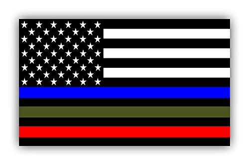 2 PACK RED, GREEN, BLUE LINE STICKER DECAL SUPPORT POLICE, MILITARY AND EMT/FIREMEN AND WOMEN DISPLAY THIS 3 IN 1 STICKER 3X5
