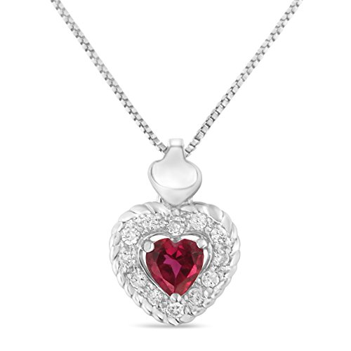 Original Classics Sterling Silver 0.34ct TDW Ruby Heart and Diamond Heart Shape Pendant Necklace (I-J,I2-I3)