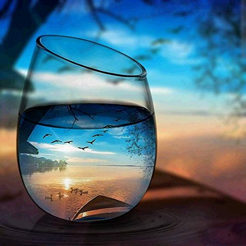 ForartWine Glass Sunset Landscape Full Square 5D DIY Diamond, Round Drilling Diamonds Embroidery Painting Cross Stitch Kit DIY Home Decor