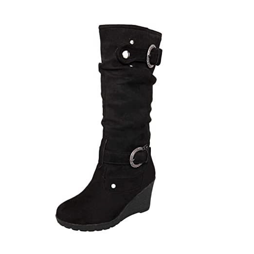 NDGDA Slip On Wedges High Heeled Long Snow Shoes Womens Brief Buckle Boots