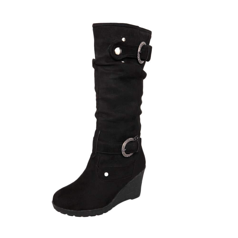 Botas Mujeres Invierno Zapato Plano Redondo Dedo del pie Espesor cuñas señoras Tubo Largo Ankle Botas