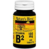Nature's Blend Vitamin B2 100 mg - 100 Tablets, Pack of 6