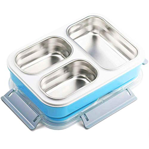 Homespon Lunch Boxes Insulated Bento Box Stainless Steel Detachtable Food Container 3 Compartments Leak Proof Lunch Containers for Adults,Kids (Blue)