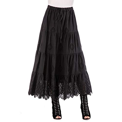 (Love Welove Fashion Women's Solid Cotton Embroidered Tiered Flare A-line Ankle Length with Lining Maxi Skirt (XL, Black))