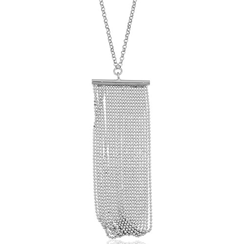 Sterling Silver Diamond-cut Bead Fringe Necklace (18 inch) Diamond Cut Bead Fringe