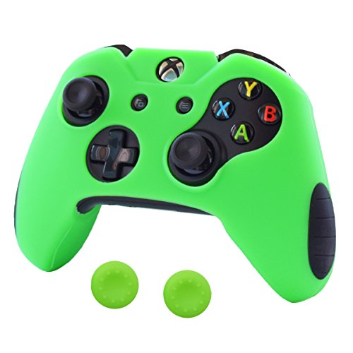 Pandaren Soft Silicone Thicker Skin Cover for Xbox One Controller Set (Green skin X 1 + Thumb Grip X 2) (Soft Silicon Skin)