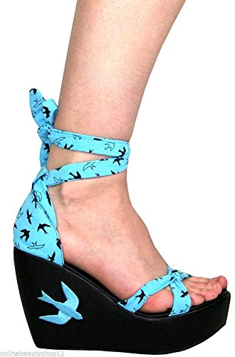 Too Fast Flying High Wedge Sandales hirondelles – Bleu