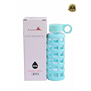 Lasting Charm® Glass Water Bottle Reusable BPA-Free with Beautiful Silicone Sleeve for Home, Travel, Hiking, Camping 12 oz (Aqua Blue)