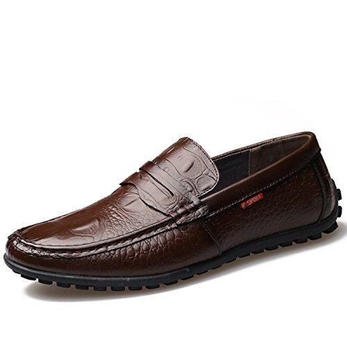 GRRONG Zapatos De Cuero De Los Hombres De Cuero Genuino Libre Negro Marrón Amarillo Brown
