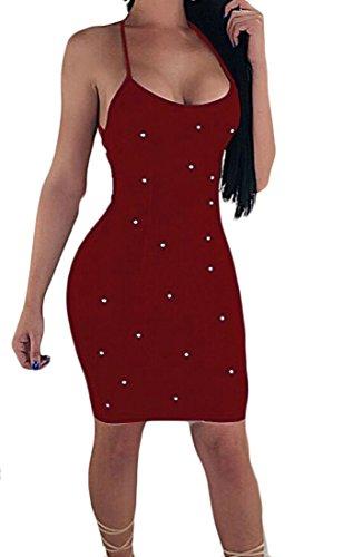 Femmes Domple Nuit À Fines Bretelles Perlage Bandage Club Slip Sexy Robe Moulante Rouge Vin