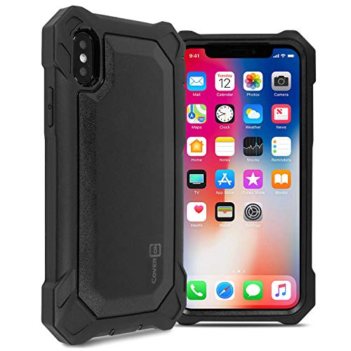 x Rugged Case, Full Body Superior Heavy Duty Protective Phone Case with Front and Back Complete Shockproof Armor for iPhone Xs Max - See Through Black ()